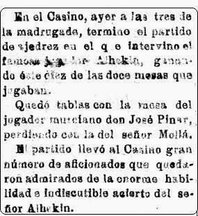 Información sobre unas simultáneas de Alexander Alekhine en El Tiempo, 9 de junio de 1922
