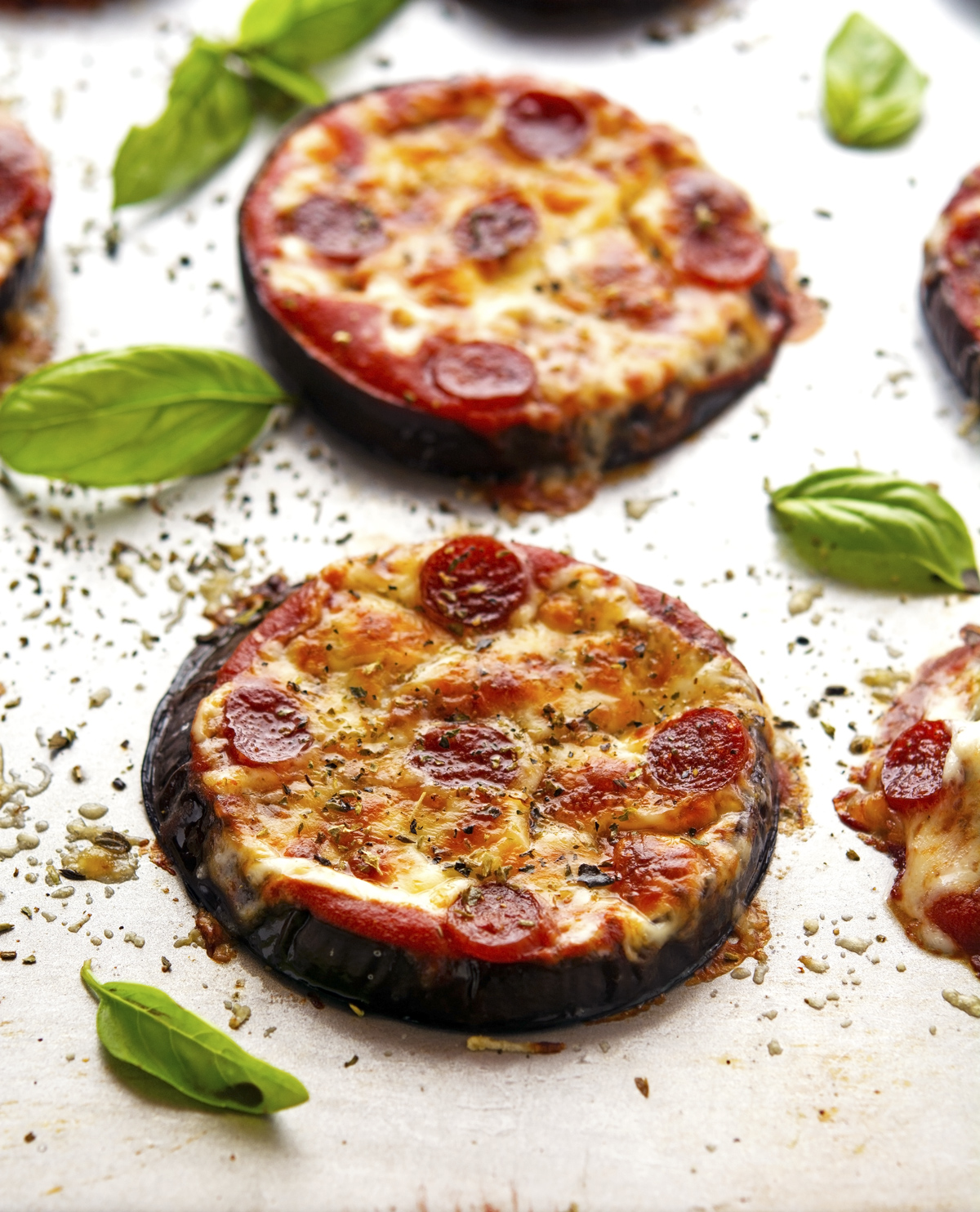 These eggplant pizzas are slices of baked eggplant, topped with ...