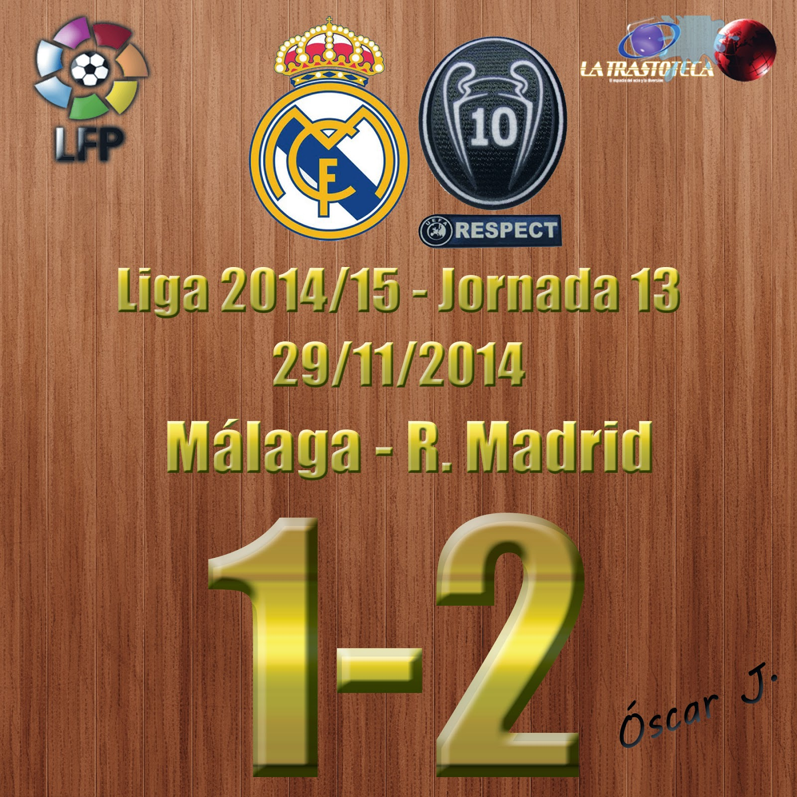 Benzema (0-1) - Málaga 1-2 Real Madrid - Liga 2014/15 - Jornada 13 - (29/11/2014)