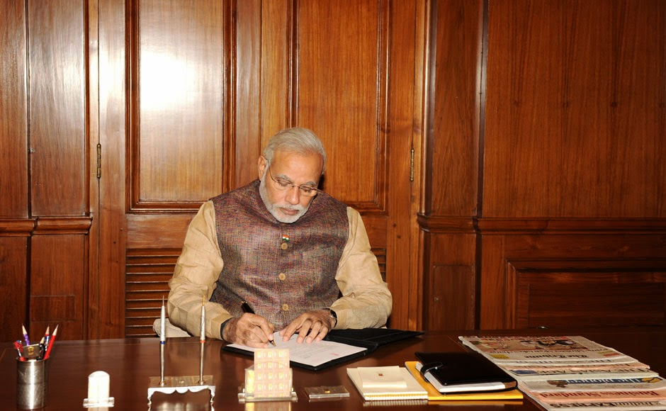 Narendra Modi at office