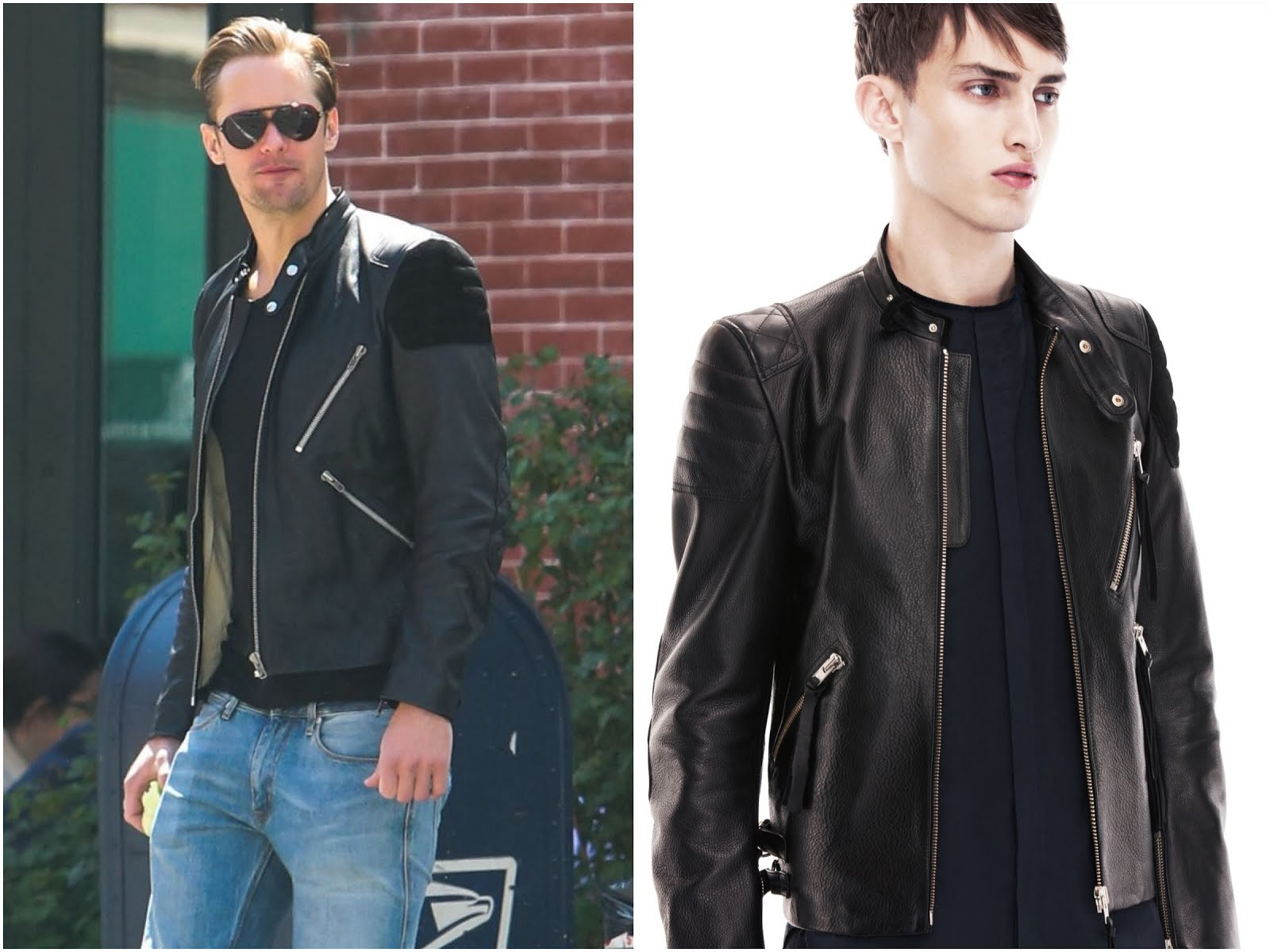 00O00 Menswear Blog: Alexander Skarsgard in Acne Studios 'Oliver' leather and suede biker jacket - New York Street Style