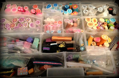 My stash of polymer clay canes