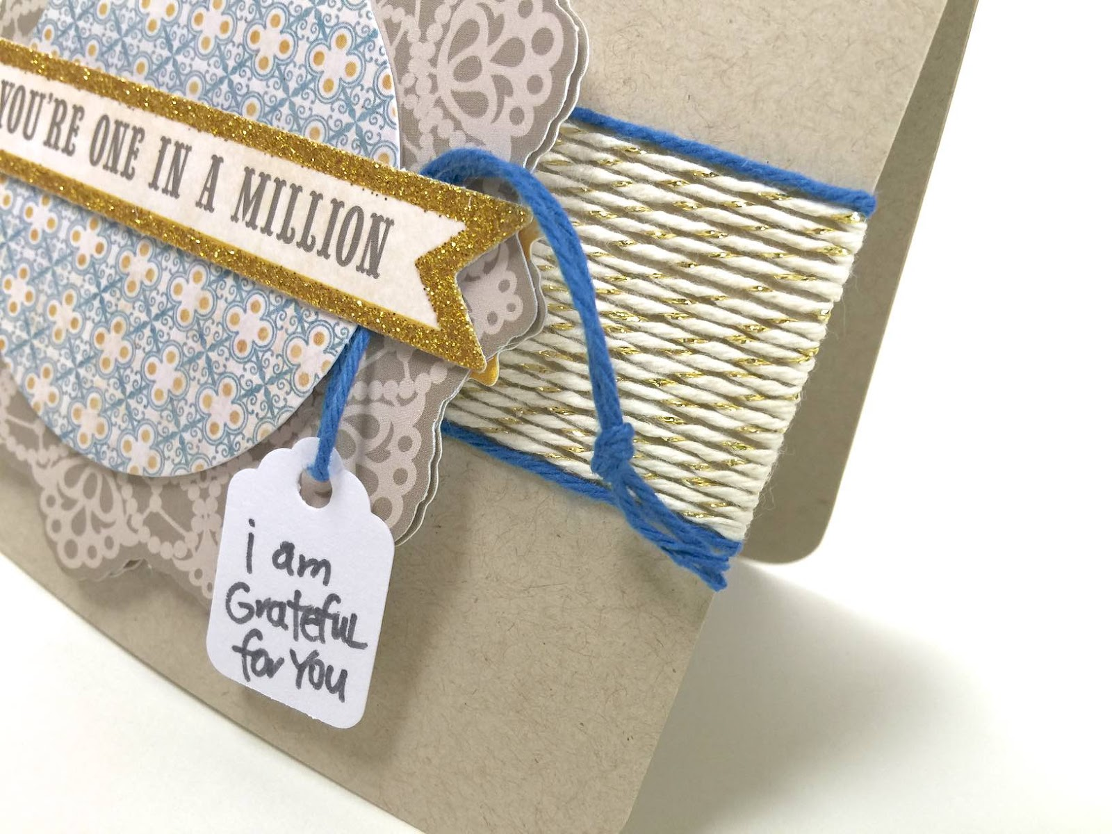 Gold Shimmer Baker's Twine and a glitter die cut equals one cute card! | I Love It All