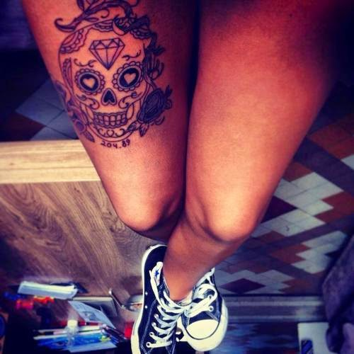 Sugar Skull Tattoo On Leg