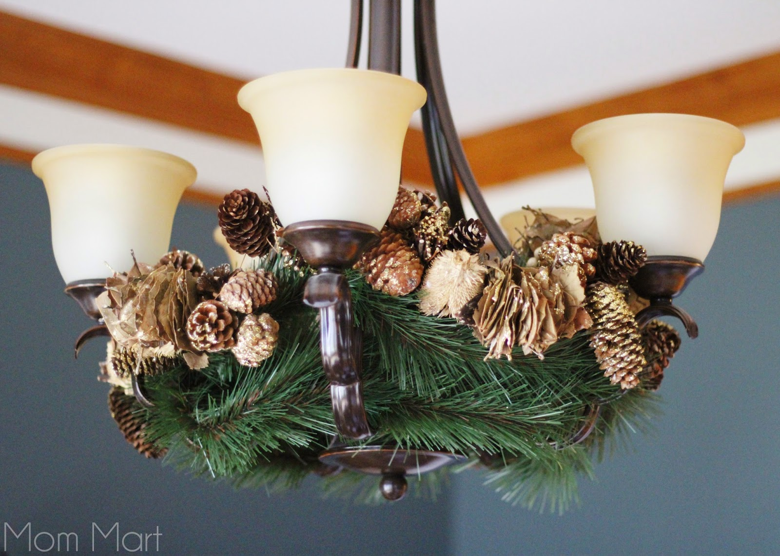 Holiday Decor Christmas Chandelier Gold and Green