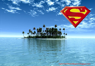 Wallpaper of Superman super hero Logo in Paradise Island Desktop wallpaper