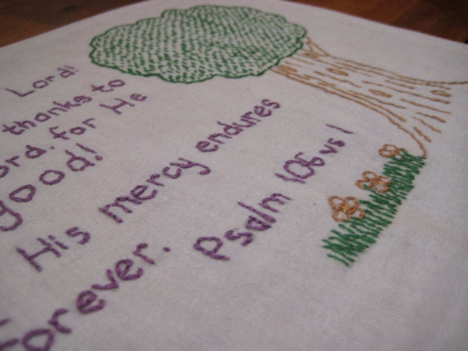 Embroidery {Psalm 106 vs 1}