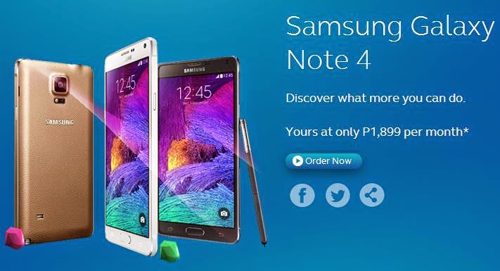 Samsung Galaxy Note 4 Yours at Globe Plan 1899
