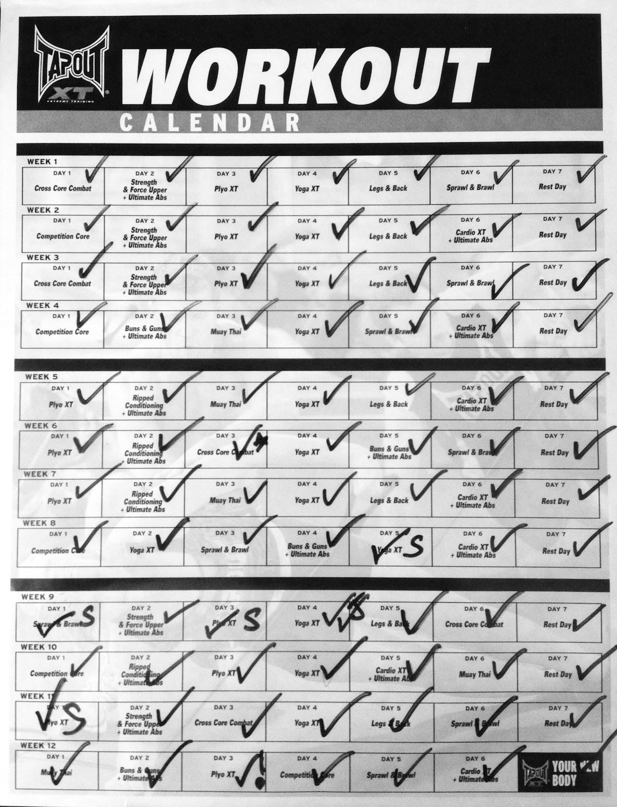 tapout xt calendar insanity workout calendar pdf tapout xt workout ...