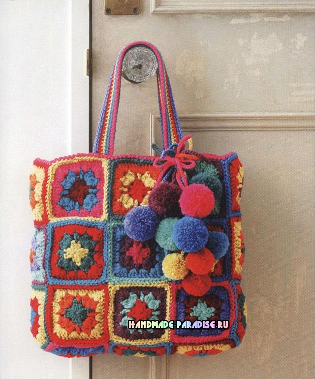 Сумка. Crochet With Color. Японский журнал со схемами