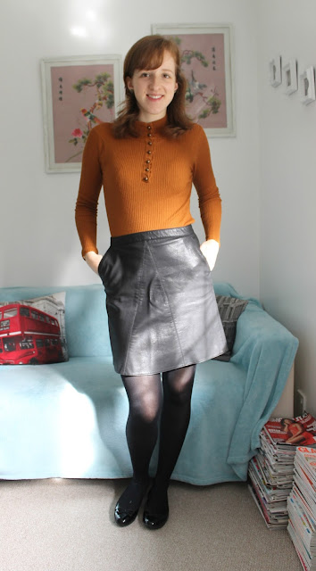 OOTD Mustard Roll Neck and Leather Skirt Primark Zara Warehouse Clarks Fashion Bloggers Outfit