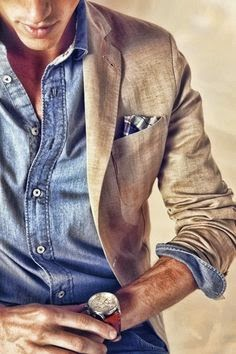 Casual Looks with SUIT- Suit jacket with Lightweight denim shirt