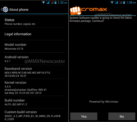 Micromax A116 Canvas HD official Android 4.2 Jelly Bean OS