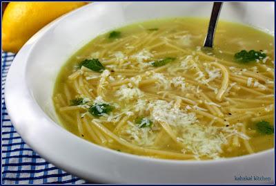 vermicelli soup with lemon & butter (+ mint & mizithra): simple noodle soup for souper (soup, salad & sammie) sundays
