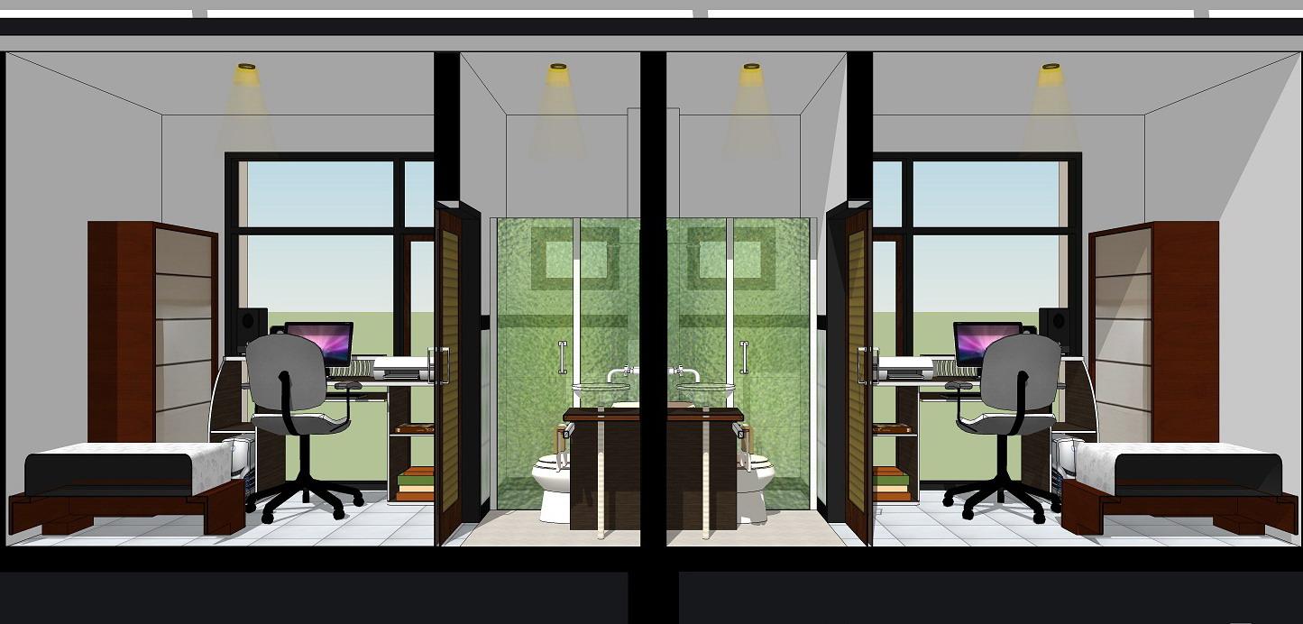 Desain Kamar Kost Lengkap Dengan Dapur Gambar Desain
