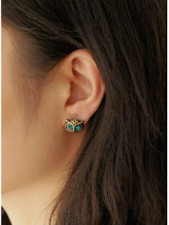 2 Pairs Of Vintage Bronze And Crystal Owl Head Stud Earrings ONLY 99 Cents Free Shipping