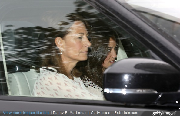 Carole Middleton and Pippa Middleton arrive at Kensington Palace the day after the birth of The Duke And Duchess Of Cambridge's daughter at Kensington Palace