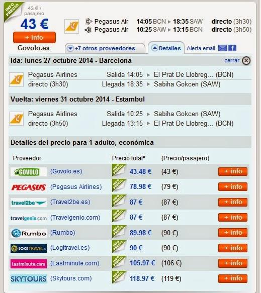 chollo vuelo directo Barcelona Estambul