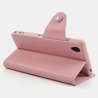 Leather Case Wallet Stand with Card Slot for Sony Xperia Z1 Honami C6906 C6903 C6902 C6943 L39h - Baby Pink