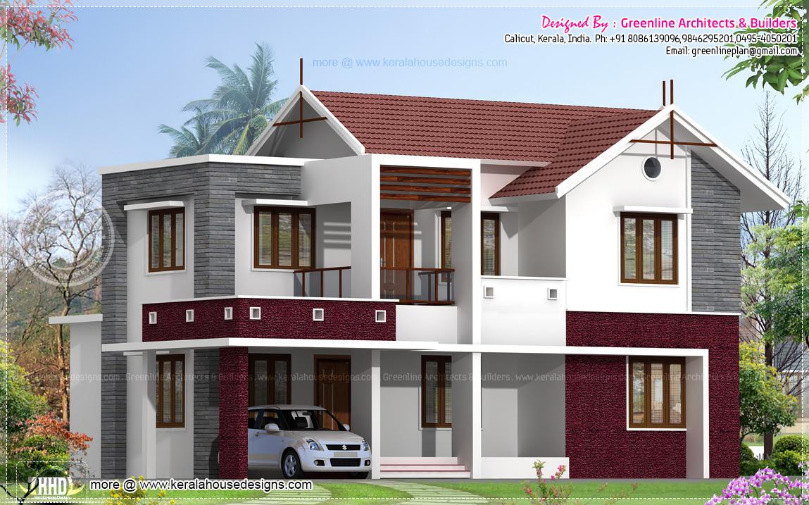 2054 square feet beautiful villa exterior home kerala plans for Kerala house exterior