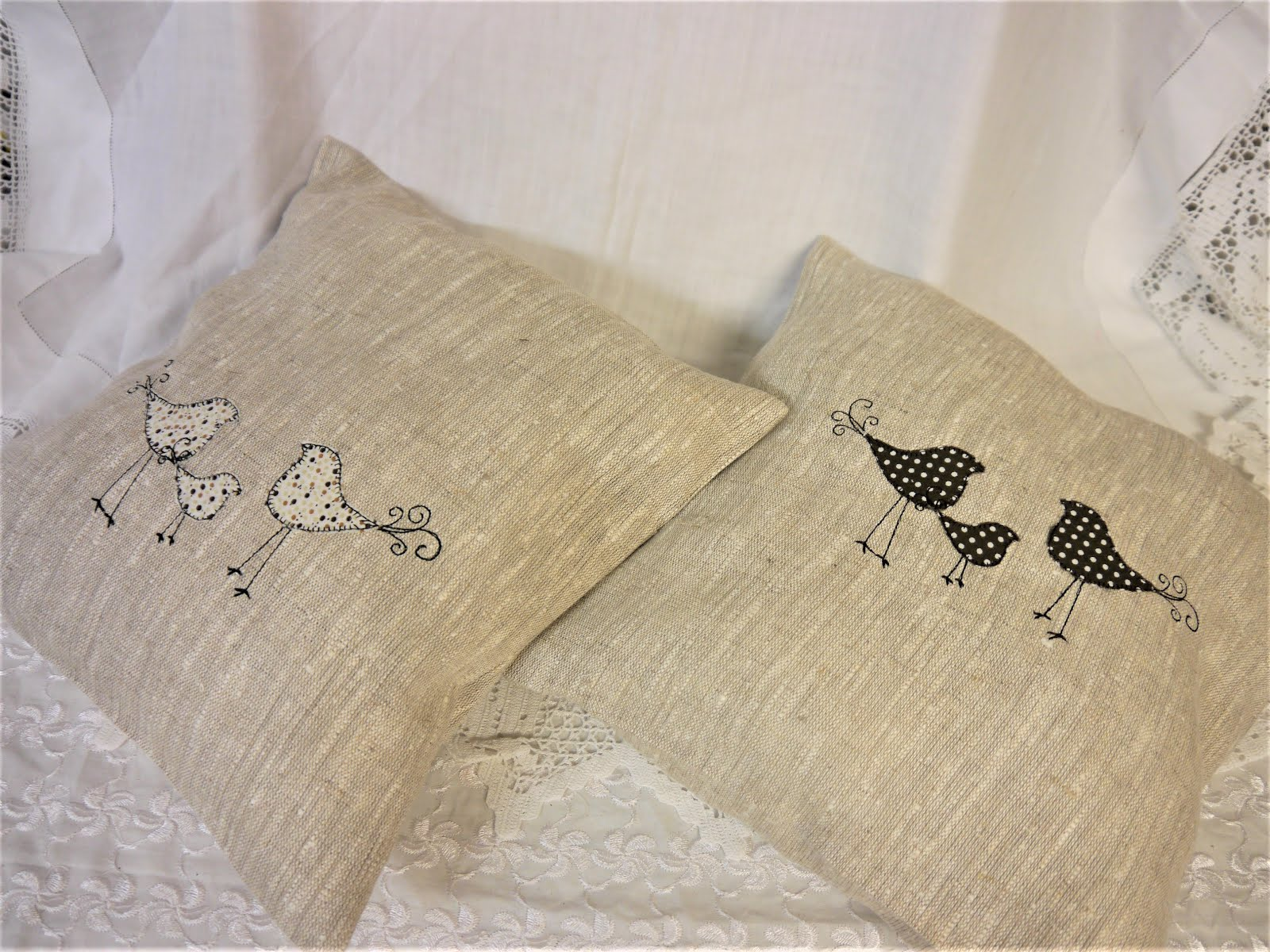 Retro Bird Applique Cushions