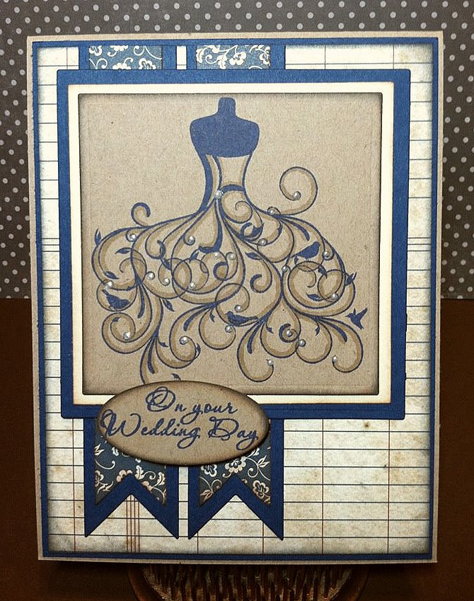 I just love how this wedding dress stamps I used Paris Dusk Navy Blue