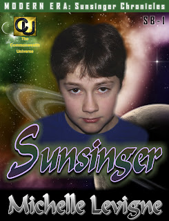 a  boy is shown in the foreground, planets and space are shown in the background