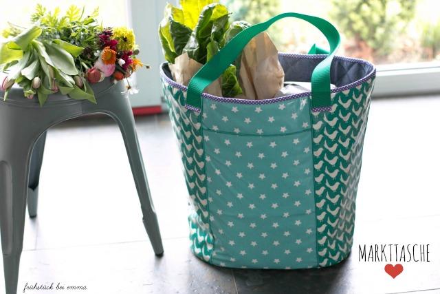 Taschenbeispiel Einkaufstasche Markttasche aus Wachstuch Taschenspieler 2 CD von Farbenmix