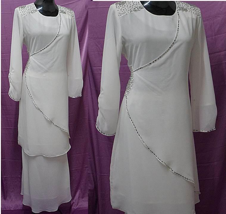 Baju Raya Putih Kurung Moden Chiffon Koleksi Baju Raya