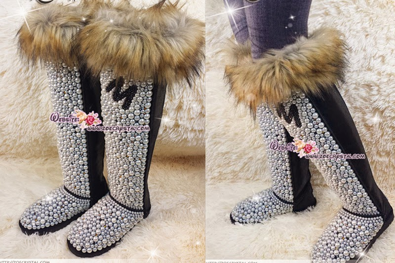 PROMOTION WINTER Knee High Bling and Sparkly Brown Fur Black UGG Inspired SheepSkin Wool BOOTS w elegant Pearls and YOUR FAVORITE INITIAL - ZoeCrystal