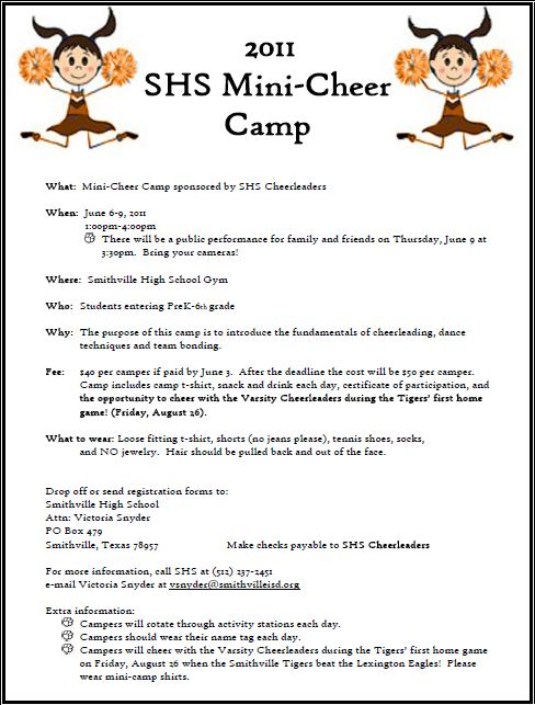 smithville elementary camp time mini cheerleading camp information