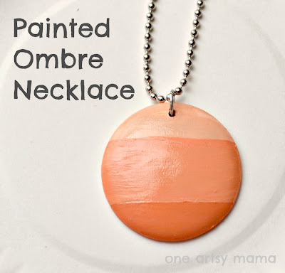 painted coral ombre wooden disc necklace