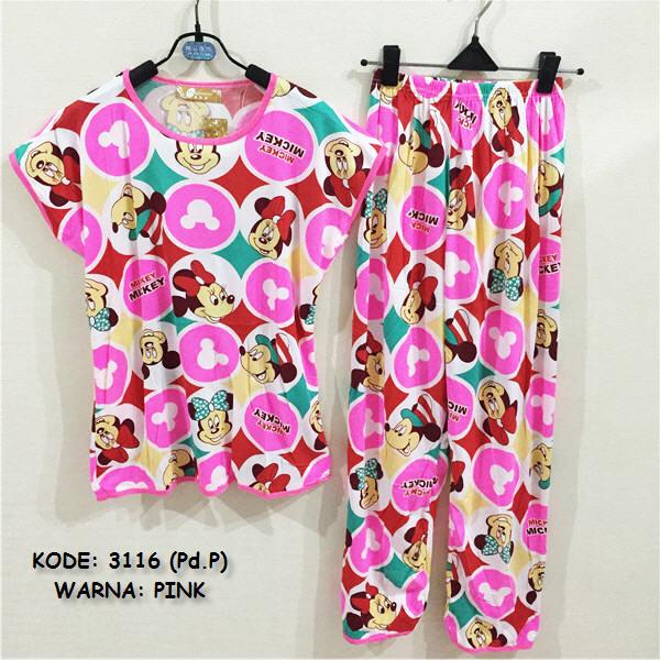 Jual Online Stelan Baju Tidur Warna Pink Murah di jakarta Bahan Combed Terbaru