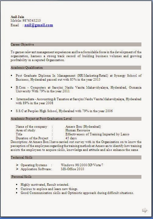 resumeformatforfreshersmbahrfreedownload standard resume format - Format Resume Download