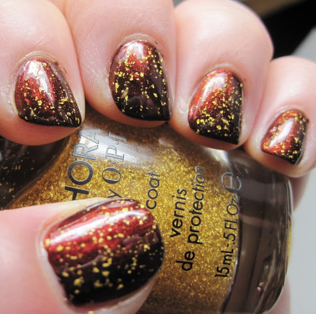 Estee Lauder Dressed to Kill with SOPI 18k gold topcoat