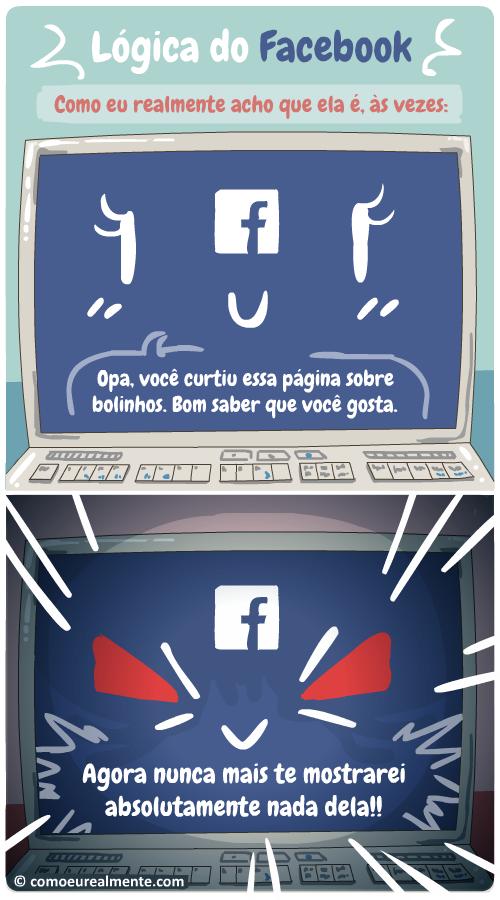 Como eu realmente acho que é a lógica do Facebook que não nos mostra o que gostamos