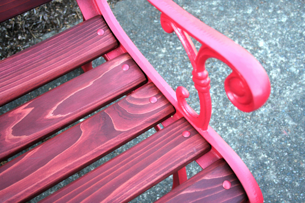 I Have Never Seen A Red Garden Bench So I Decided To Build One From  Recycled Cast Iron Back, Sides, And Hardware. I Used Ceder Wood Milled From  My Friends ...