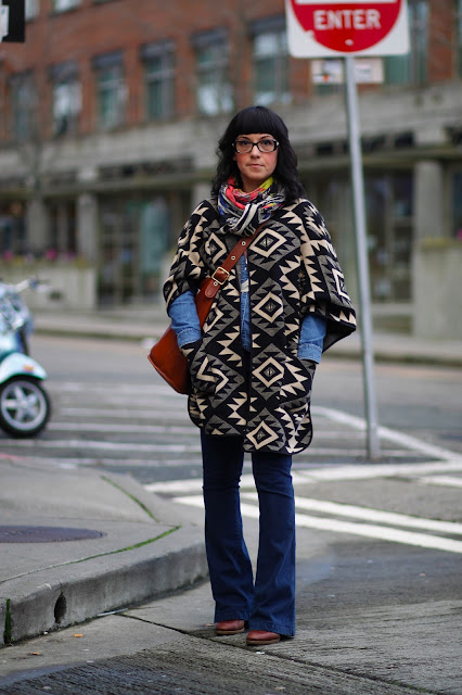 Maria Alcantara @thedailymax navajo print capecoat seattle street style fashion