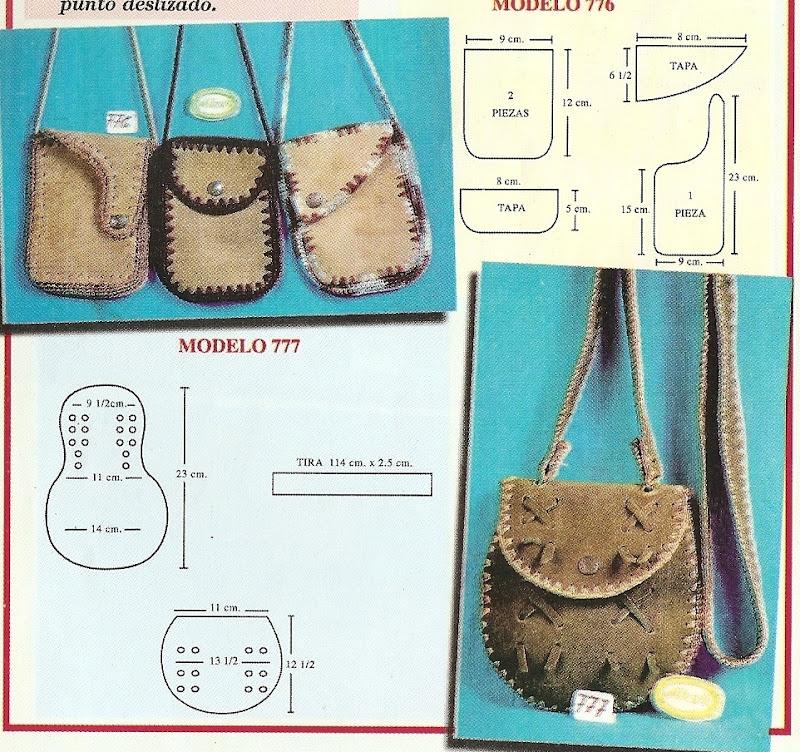 Modelos de bolsos y carteras en gamuza y crochet