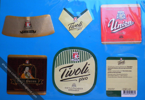 Beer labels: Union Crni Baron, Tivoli, Union