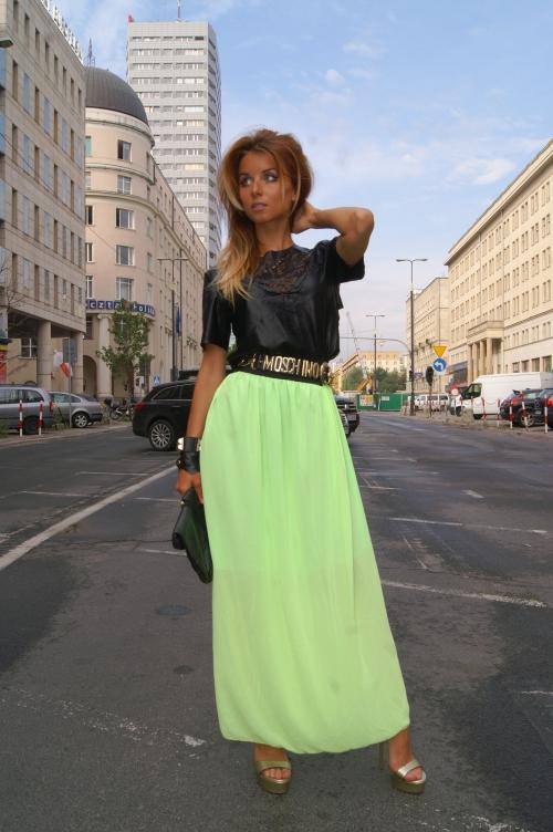 lime maxi skirt