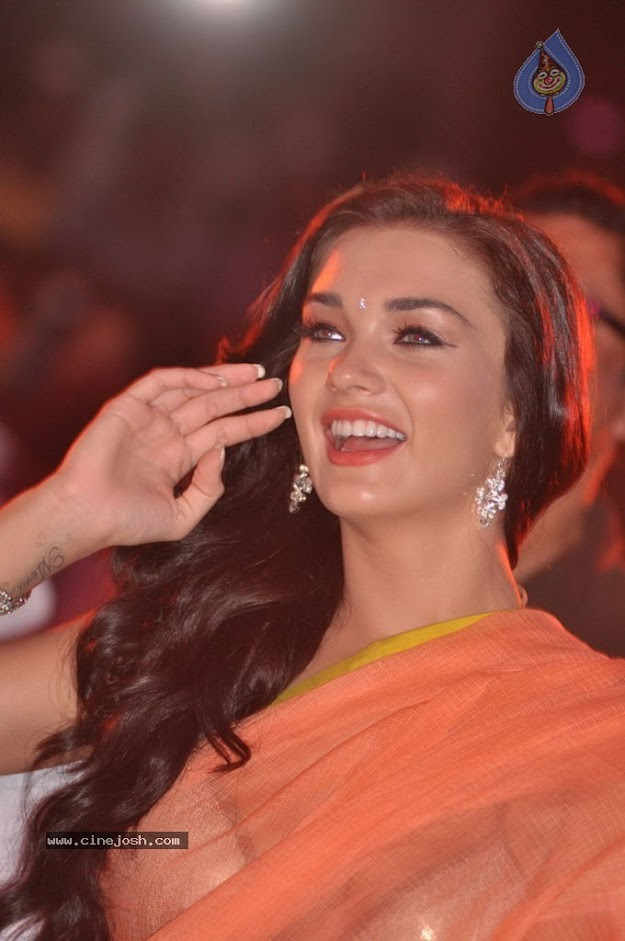 Amy Jackson in orange transparent saree - (13) -  Amy Jackson in Orange Transparent Saree at event