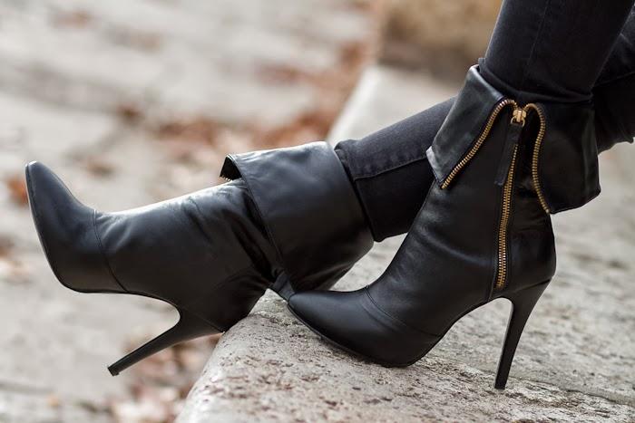 Botas negras de cuero con cremallera inspiradas en Giuseppe Zanotti