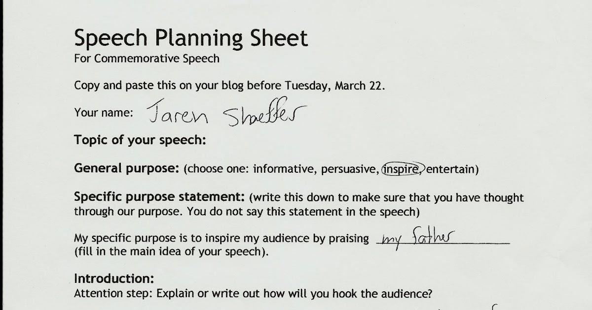 Blog Post Four Commemorative Speech Outline  Personal Speech