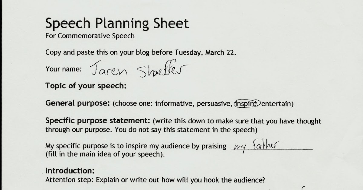 guide to a speech outline