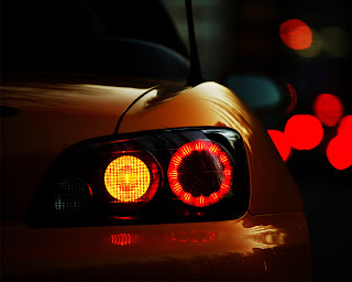 Orange Car Back Lights HD Wallpaper