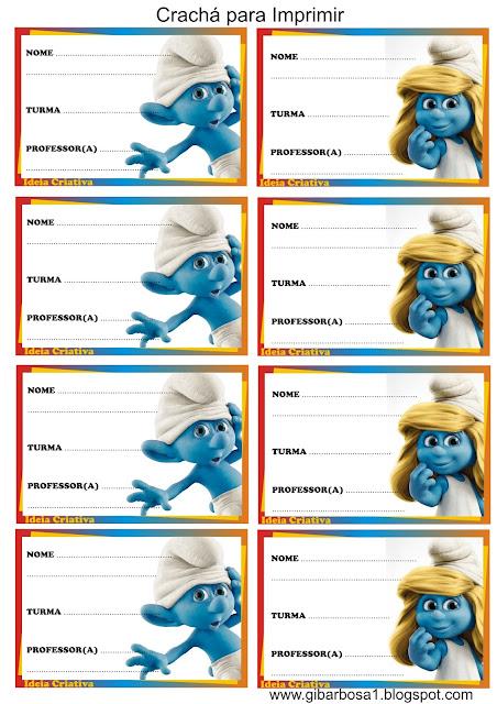 Crachás para imprimir Os Smurfs
