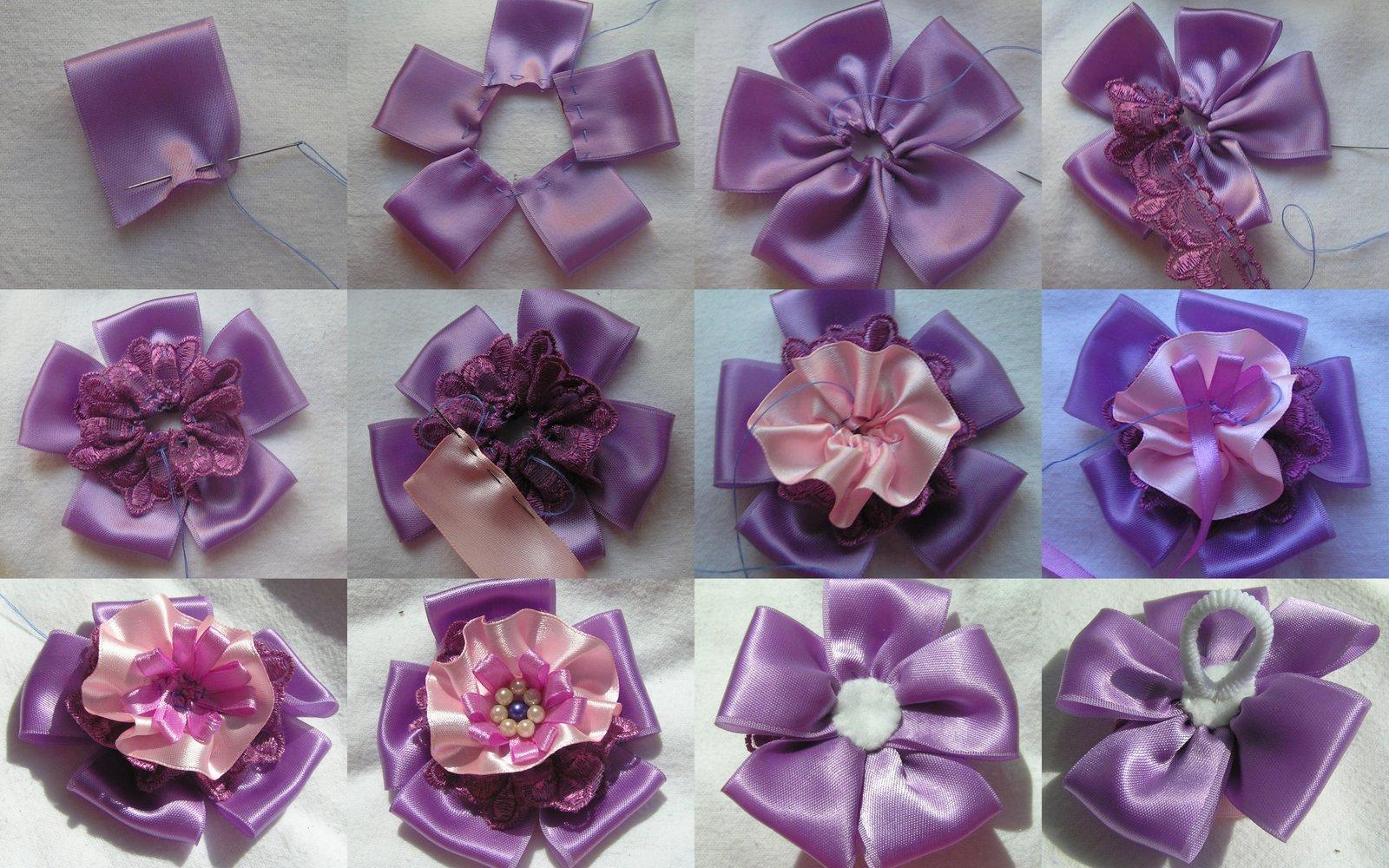 Цветок из атласных лент для начинающих пошагово