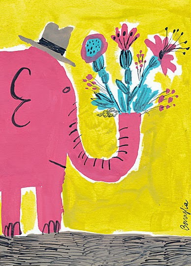 BigDrawCharityPostcardLotto elephant with spring flowers by Fred Benaglia