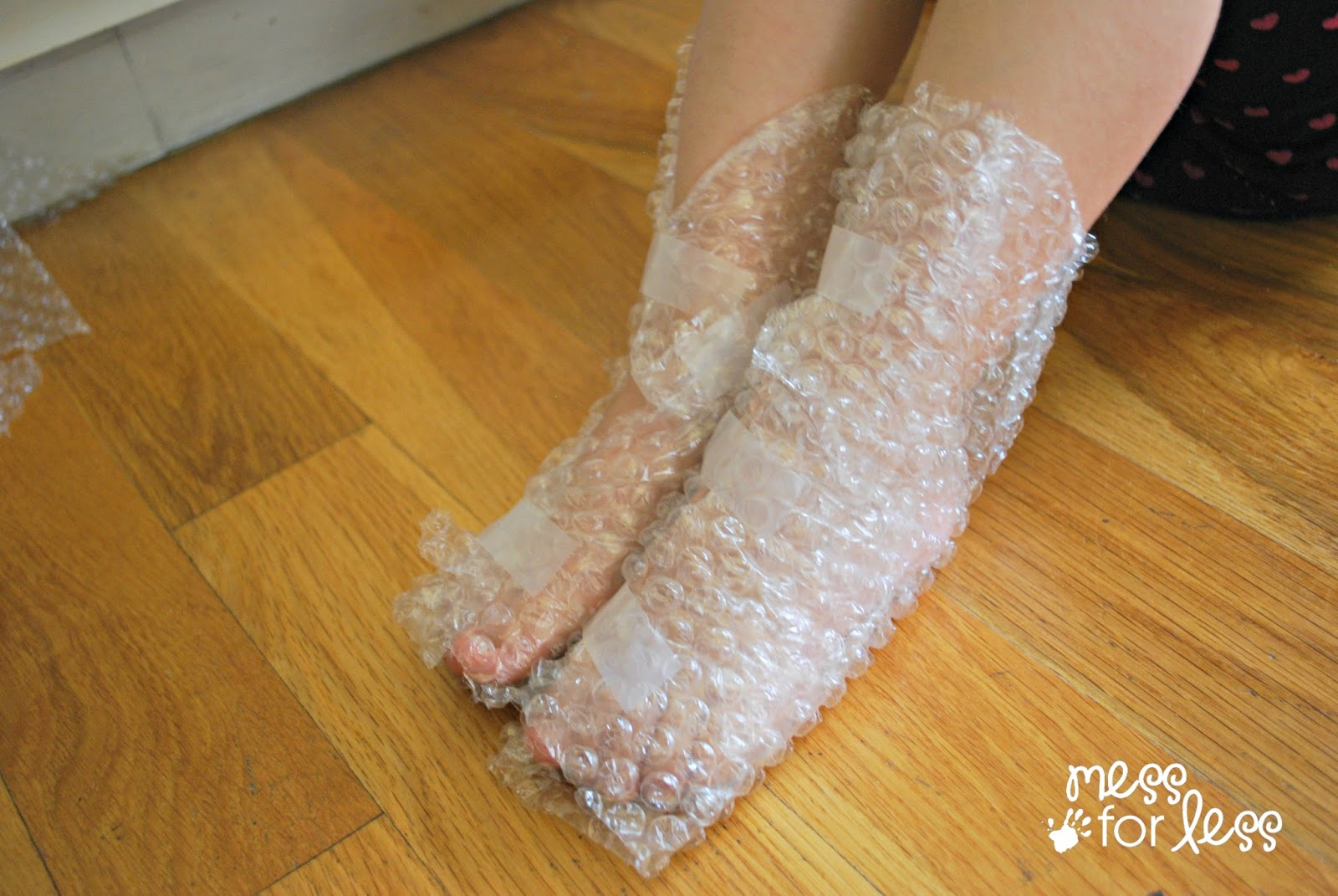 bubble wrap on feet